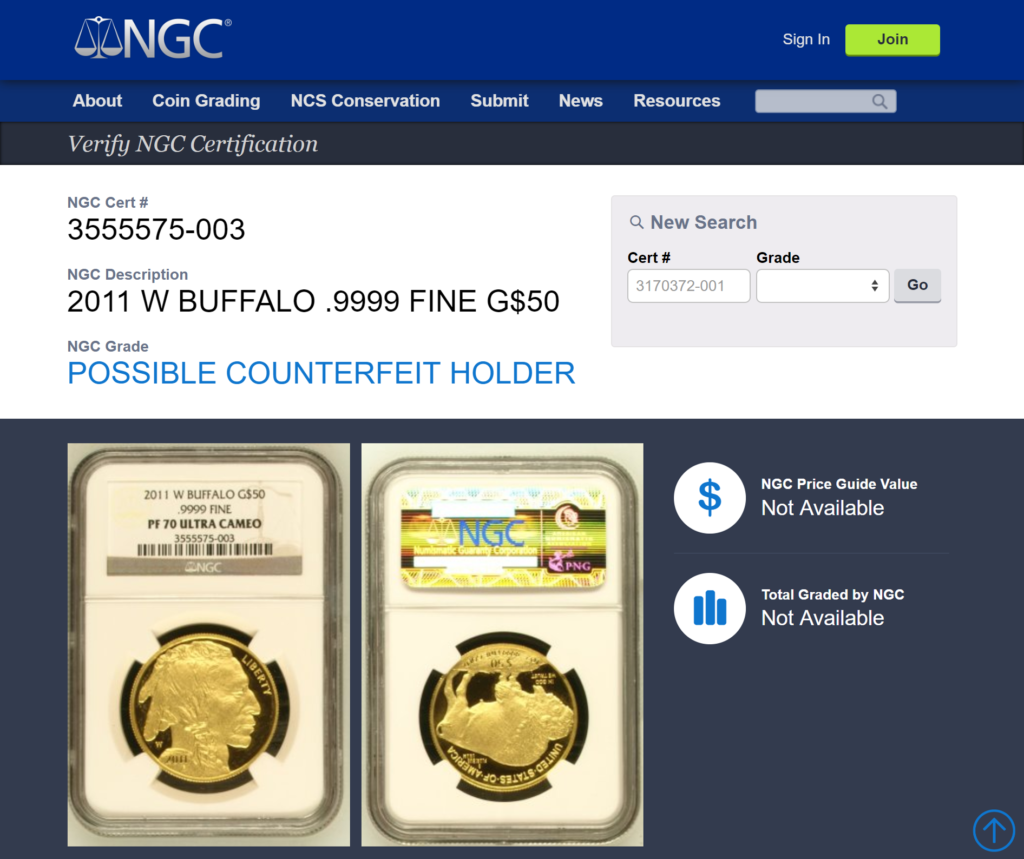 ACEF NGC Possibe Counterfeit Notice