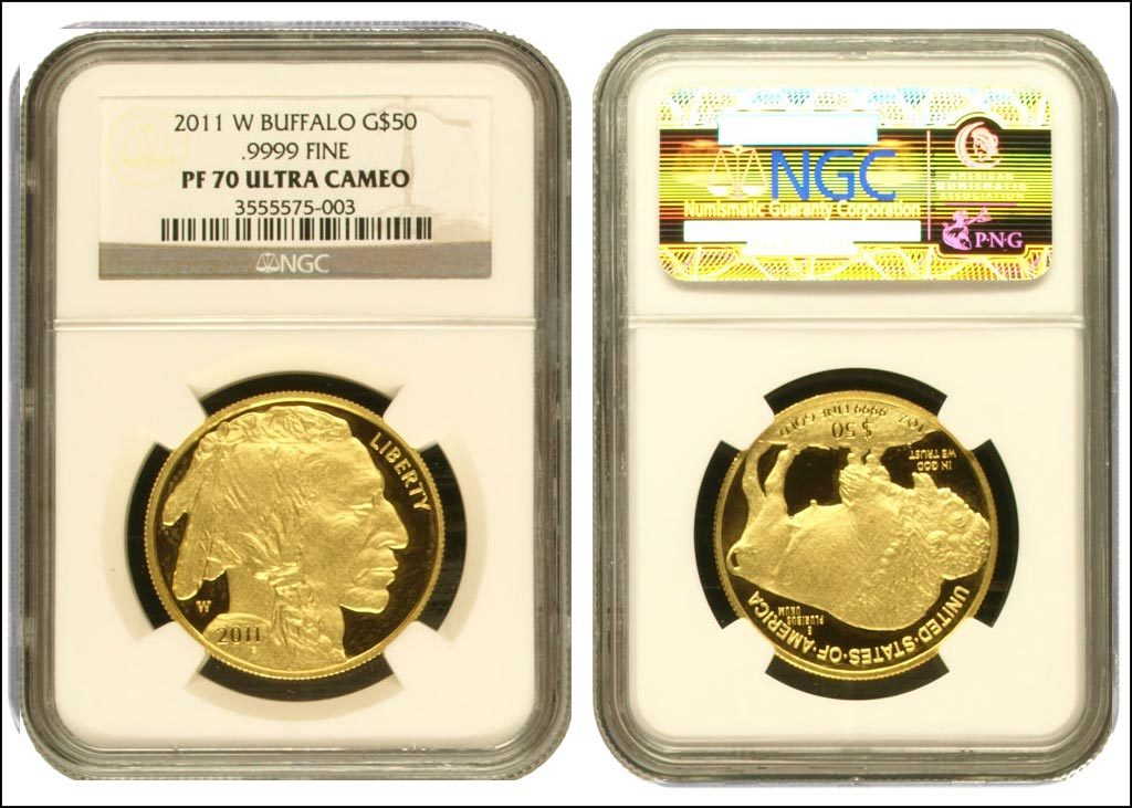 Genuine 2011-W  American Buffalo gold coin, graded Proof 70 Ultra Cameo, in genuine NGC holder